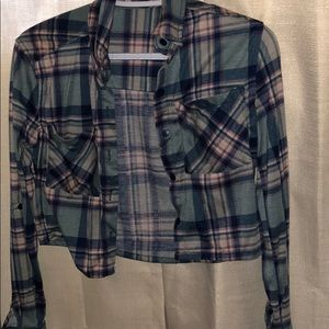 Plaid cropped button down